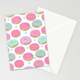 Donut hearts pastel colors love happy hipster foodie funny valentines day Stationery Cards