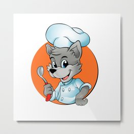 Cartoon Chef Wolf Metal Print