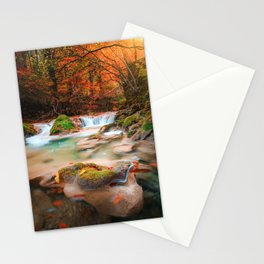 lago en el rio urederra, river and lake in the forest Stationery Cards