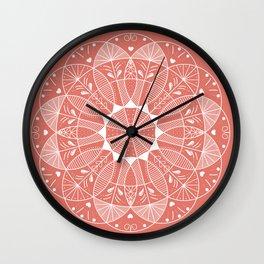 Living Coral Mandala-Pantone Color of the Year 2019 Wall Clock