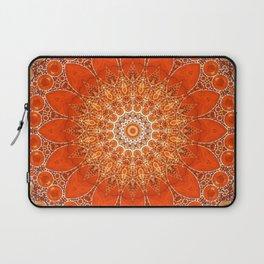 Detailed Orange Boho Mandala Laptop Sleeve
