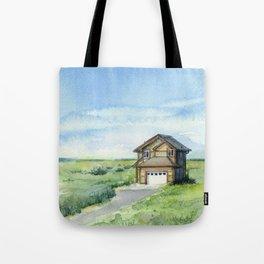 Beach House Landscape Watercolor | Long Beach, WA Tote Bag
