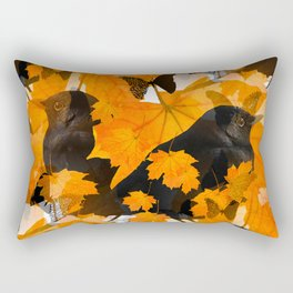 Beautiful Autumn Blackbirds with butterflies and Orange Maple Leaves #decor #society6 #buyart Rectangular Pillow
