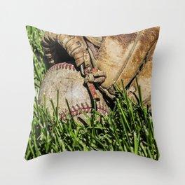 Baseball and Glove on Grass 3 Throw Pillow