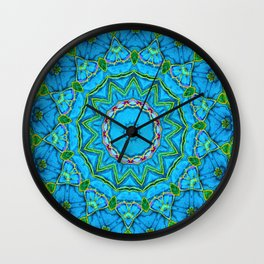 Lovely Healing Mandalas in Brilliant Colors: Blue, Green, Yellow, and Pink Wall Clock