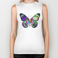 lsd Biker Tanks featuring LSD butterfly by Pink Eyed Paranoia