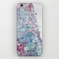 chicago map iPhone & iPod Skins featuring Chicago map by MapMapMaps.Watercolors