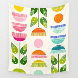 Sugar Blooms - Abstract Retro Inspired Design Wall Tapestry