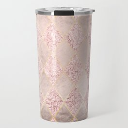 Blush Rose Gold Glitter Argyle Travel Mug