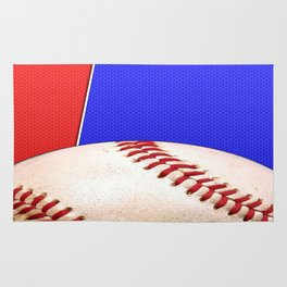 Baseball Sports on Blue and Red Rug