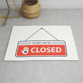 Sorry Closed Sign Is Hanging Door Store Illustration White Background Rug