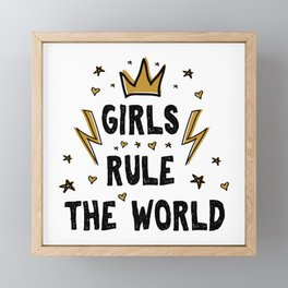 Girls rule the world - funny feminism humor sayings typography illustration with thunder and star Framed Mini Art Print
