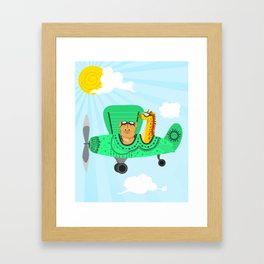 A decorated airplane with a cat and a giraffe Framed Art Print
