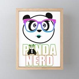 Panda Nerd Girl - Rainbow Framed Mini Art Print