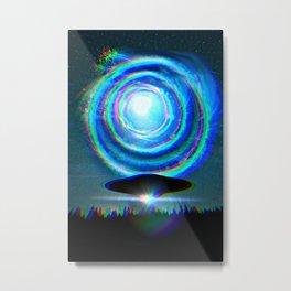 Glitchy UFO Metal Print