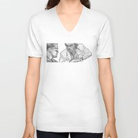 rat V-neck T-shirts featuring rat by BzPortraits