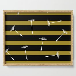 flying dandelion seeds simple seamless pattern on Yellow Olive Green stripes Background Serving Tray