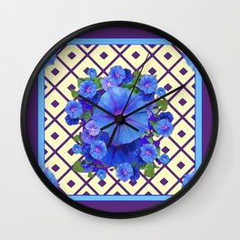 Cream Color Purple Pattern Blue Floral Wall Clock