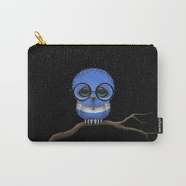 Baby Owl with Glasses and Nicaraguan Flag Carry-All Pouch