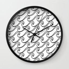 Rough Sea Pattern - black on white Wall Clock