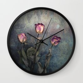 Three Dried Roses III Wall Clock