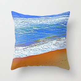 """""""Waves Of Rincon Beach #2"""" with poem: Enduring Ocean Throw Pillow"""