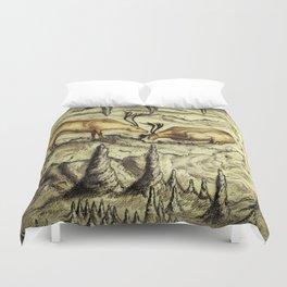 Rock Shelter Reindeer  Duvet Cover