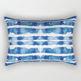 Shibori Vivid Indigo Blue and White Rectangular Pillow