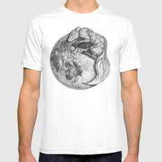 Moon Fox MEDIUM Mens Fitted Tee White