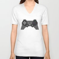 video game V-neck T-shirts featuring Pixelized Video Game Controller by Merr Peng