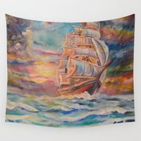 ship Wall Tapestries featuring Ship by Kali Koltz