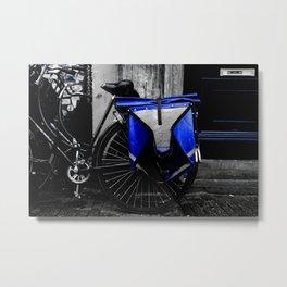 Amsterdam Dutch Bikes: The Blue Saddle Bag Metal Print
