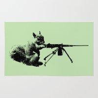 patriotic Area & Throw Rugs featuring Patriotic Squirrels by TypicalArtGuy