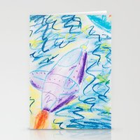 spaceship Stationery Cards featuring Spaceship by SorinaBogiu