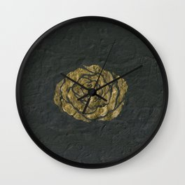 Golden Rose on Textured Canvas Wall Clock