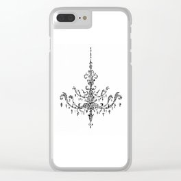 Floral Chandelier Black and White Clear iPhone Case