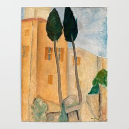 "Amedeo Modigliani ""Cypresses and Houses at Cagnes (Cyprès et maisons à Cagnes)"" Poster"
