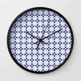 "Blue ""Coat of Arms"" Pattern Wall Clock"