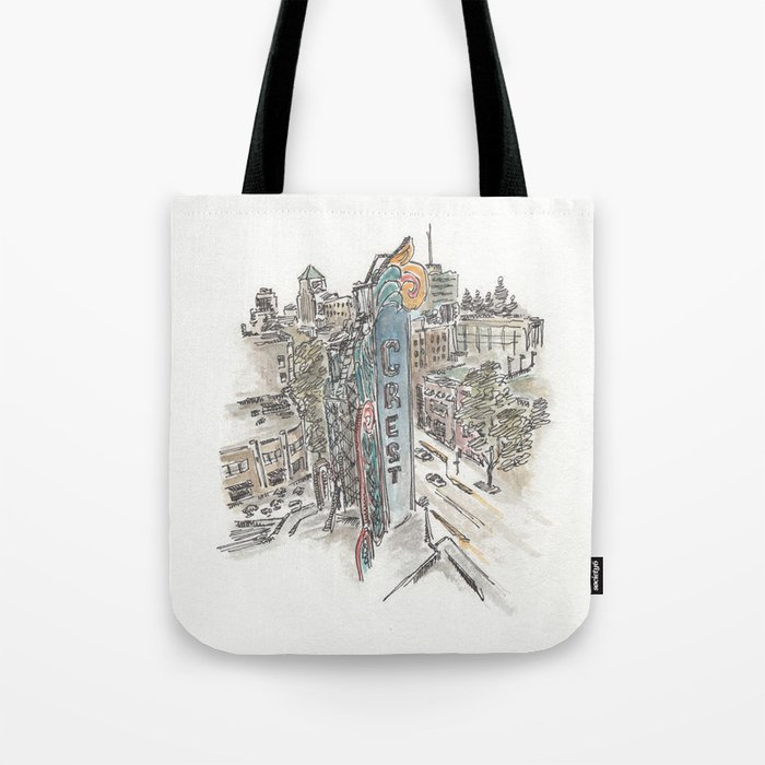 Crest Theatre Sacramento Watercolor Tote Bag