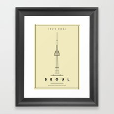 Minimal Seoul City Poster Framed Art Print