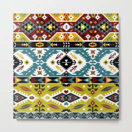 Boho Navajo Geometric Pattern Var. 8 Metal Print