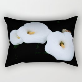 Three Calla Lilies Isolated On A Black Background Rectangular Pillow