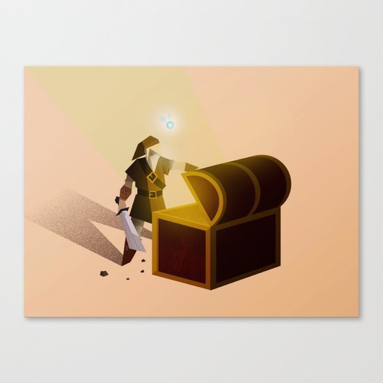 Link opening a chest Canvas Print