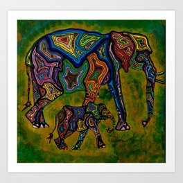 Mother and Calf Elephants Art Print