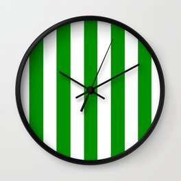 Islamic green - solid color - white vertical lines pattern Wall Clock