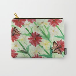 Daisies Butterflies Katydid Red Green and White Carry-All Pouch
