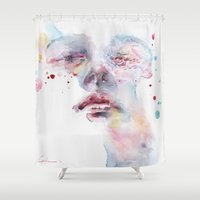 peony Shower Curtains featuring peony by agnes-cecile