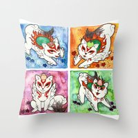 okami Throw Pillows featuring Okami Set by Jazmine Phillips