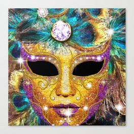 Golden Carnival Mask Canvas Print