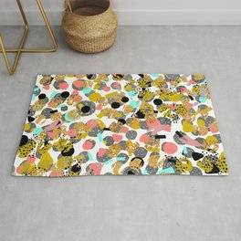 LOLA - abstract art painting modern trendy colors, gold foil, dots pattern decor Rug